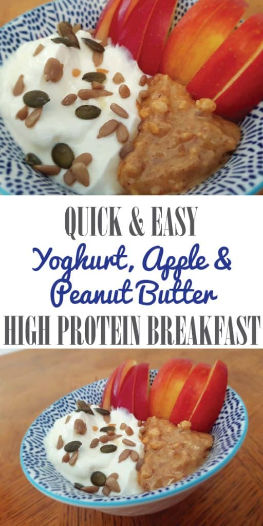 Yogurt, apple and peanut butter breakfast bowl recipe. Quick and easy high protein breakfast recipe.