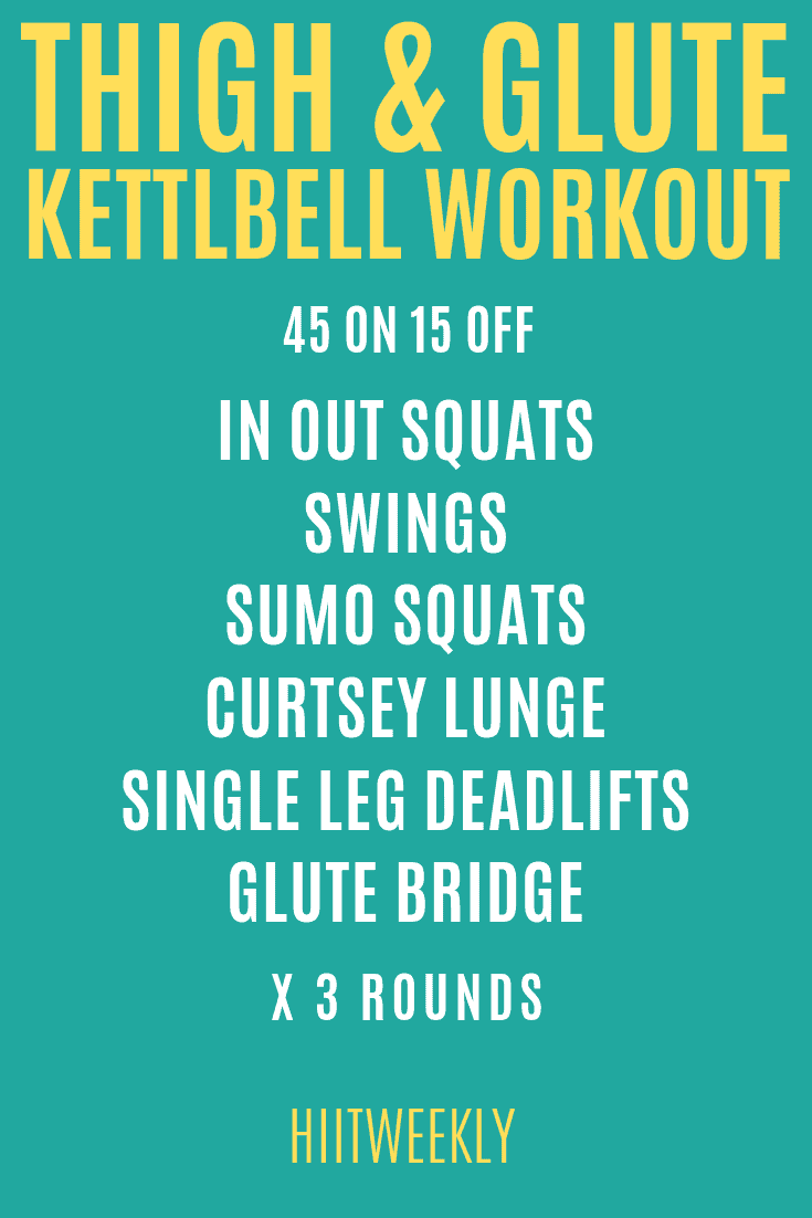 Lose unwanted thigh fat with this kettlebell thigh and glute workout you can do at home for tighter and more toned legs.