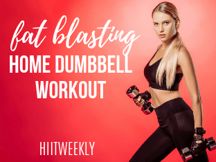 Blast fat with this home HIIT workout with dumbbells and body weight exercises.