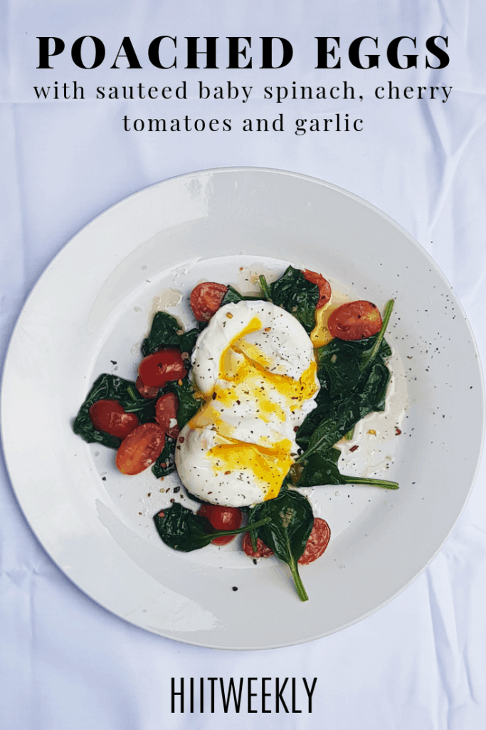 Enjoy this healthy breakfast recipe, poached eggs with garlic sauteed baby spinach and cherry tomatoes as part of a balanced diet. Serve on its own as a low carb breakfast or meal or with toast or even sweet potatoes.