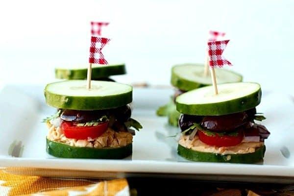 Greek Inspired Cucumber Sliders • Food Folks and Fun