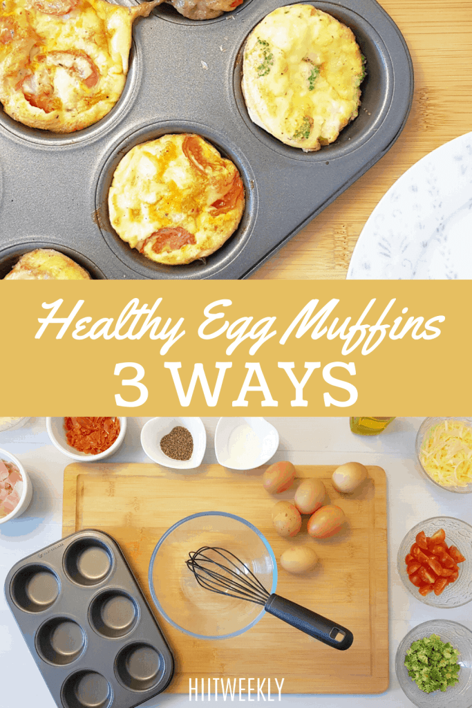 Try these healthy high protein egg muffins made 3 ways for a low carb high protein breakfast or snack option. perfect for meal prep or keto diets.