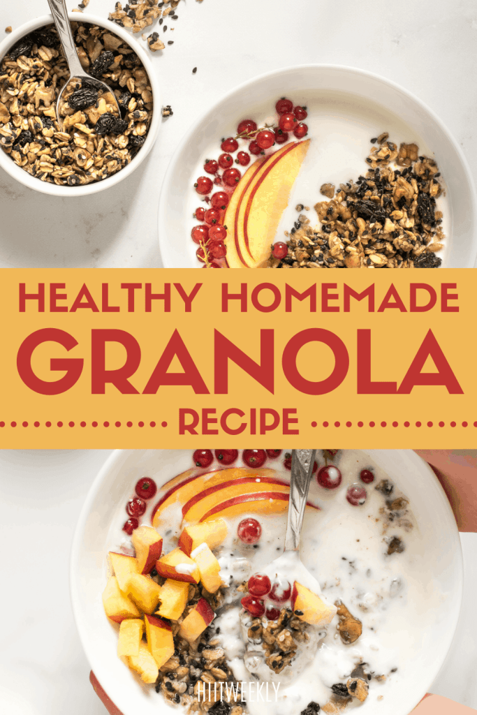Try this healthy granola recipe for a quick high protein snack or as part of a healthy breakfast.
