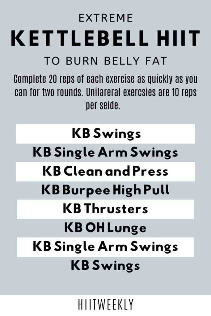 Do this extreme kettlebell HIIT workout for rapid results three days a week and watch your belly fat melt away.