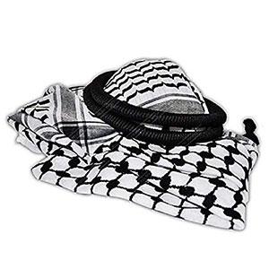 Arafat Arab scarf shawl Keffiyeh Kafiya shemagh palestine + Igal Agal set