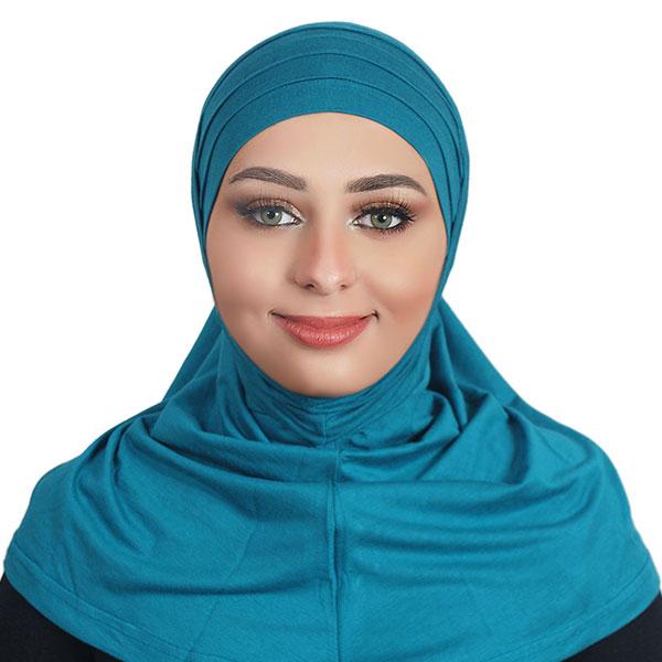 Two Pieces Cotton Al Amira Hijab K101 - Torquoise blue