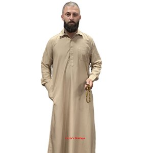 Men Bisht Arabic Cloak Dress Islamic Men Thobe