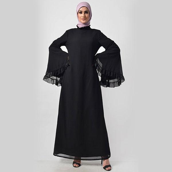 Modest Black Trendy Victorian Neck Black Abaya Dress