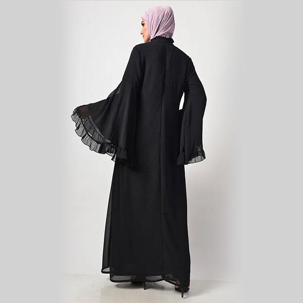 Modest Black Trendy Victorian Neck Abaya Dress Black