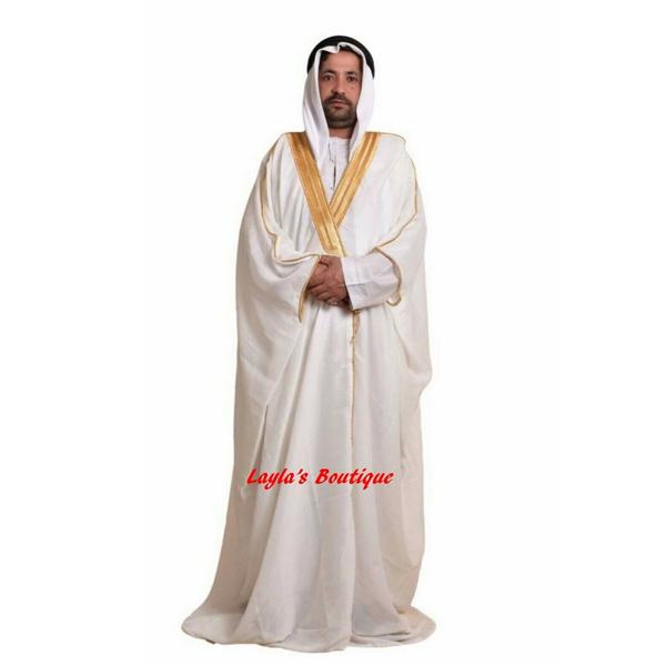 mens bisht cloak - Off-White-Gold
