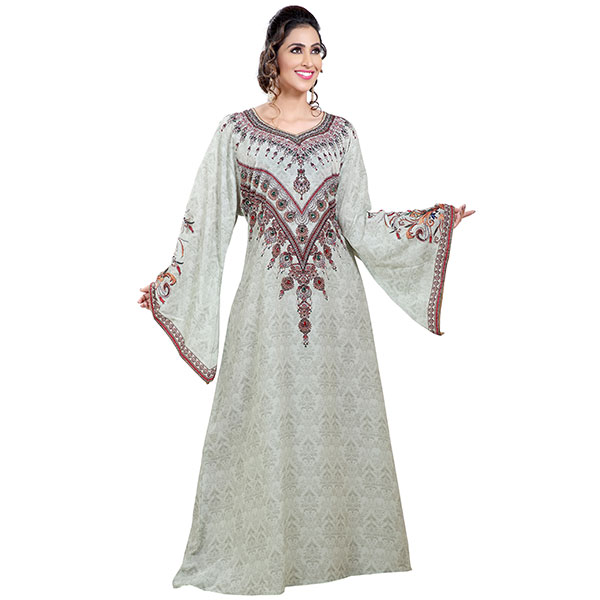 Persian Printed Maxi With Mix Embroidered Beads