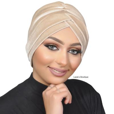 Turban, Headwrap, Fashion Turban Cap -Turban Headband Velvet in Beige