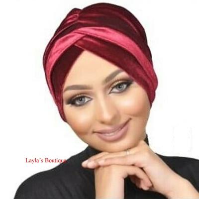 Turban, Headwrap, Fashion Turban Cap -Turban Headband Velvet in Burgundy