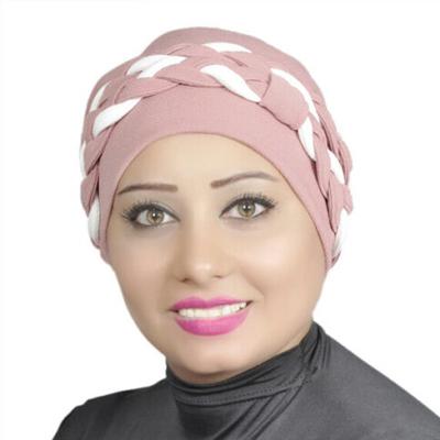 Women Turban Two-Tone Double Braid Turban Cotton Spandex Blend – Dusty-pink