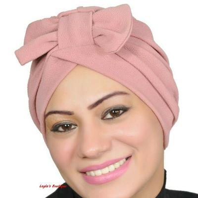 Turban Muslim Head Hijab Turban Wrap Cover Cap Hats Cotton Spandex Blend – Pink