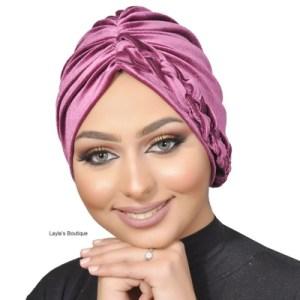 Turban, Headwrap, Fashion Turban Cap, Braided Ruffle -Turban Headband Velvet