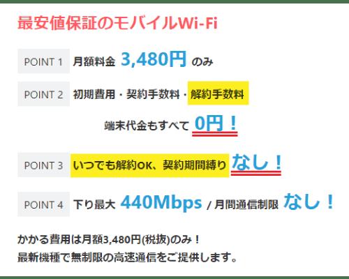 SPACE Wi-Fiのキャンペーン