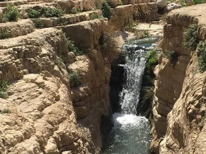 A waterfall in Wadi Qelt canyon, Israel