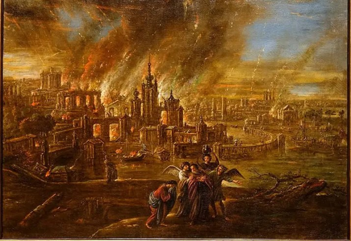 Sodom and Gomorrah afire, by Jacob Jacobsz. de Wet d. J., probably Köln, c. 1680, oil on canvas - Hessisches Landesmuseum Darmstadt - Darmstadt, Germany