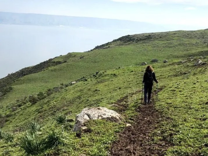 Walking on the ridge above Lake Kinneret