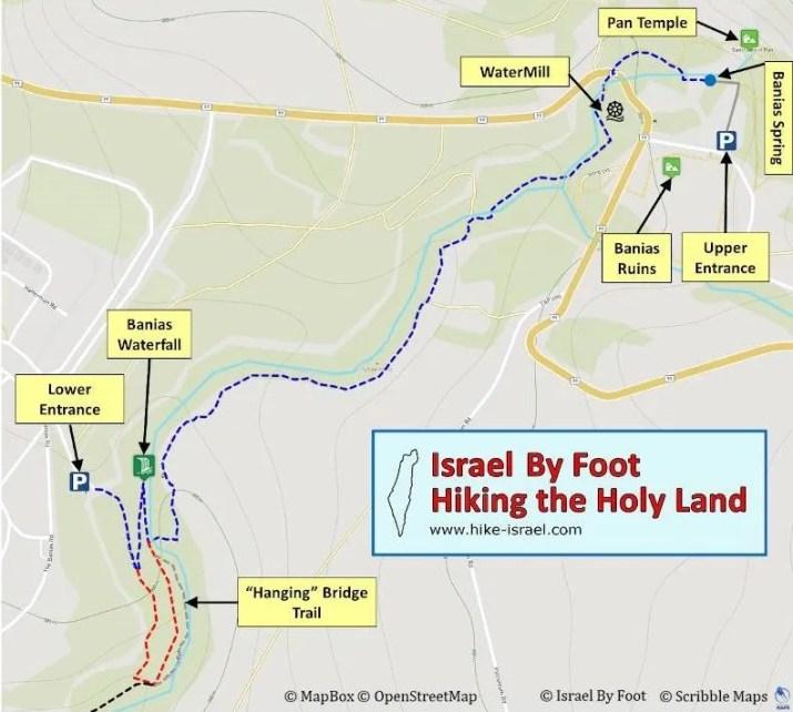 Hermon Stream (Banias) Nature reserve hiking map