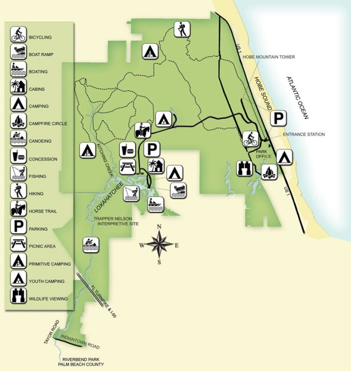 Florida State Parks Camping Map.Jonathan Dickinson State Park Trail Map Hike It Florida