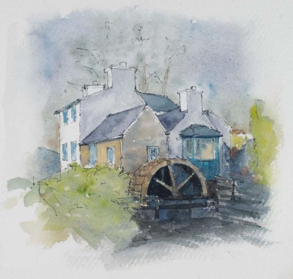 Mill, Schull, Watercolour sketch