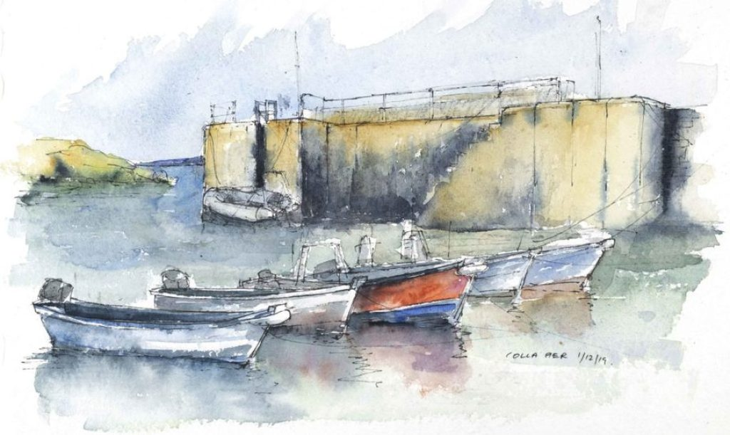 Boats moored at Colla Pier - Watercolour sketch