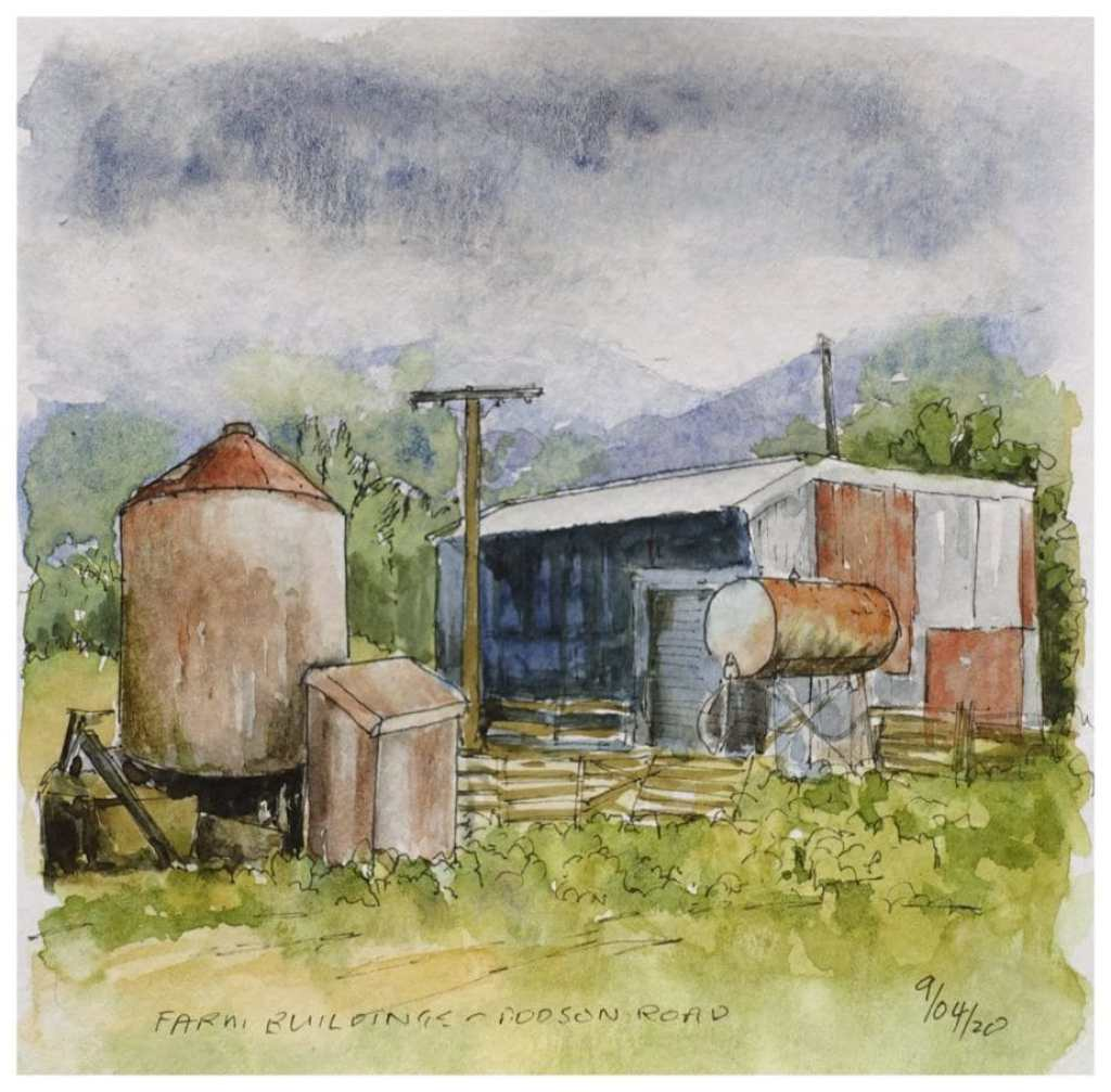 Farm buildings watercolour sketch