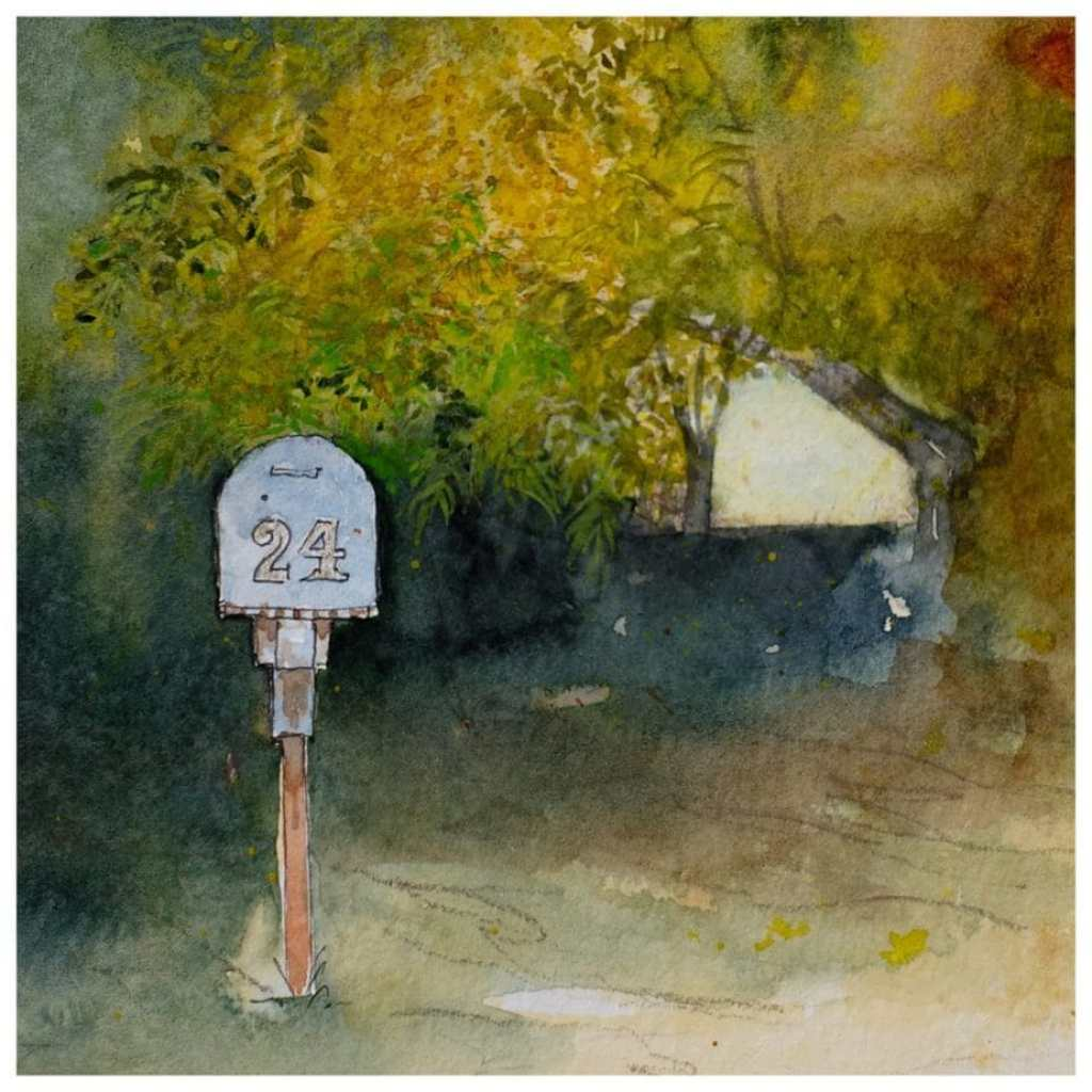 Mailbox with autumn leaves around it. Watercolour sketch