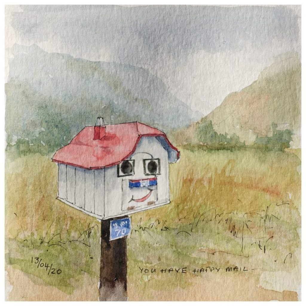 Mailbox with smiley face and a red roof. Watercolour sketch