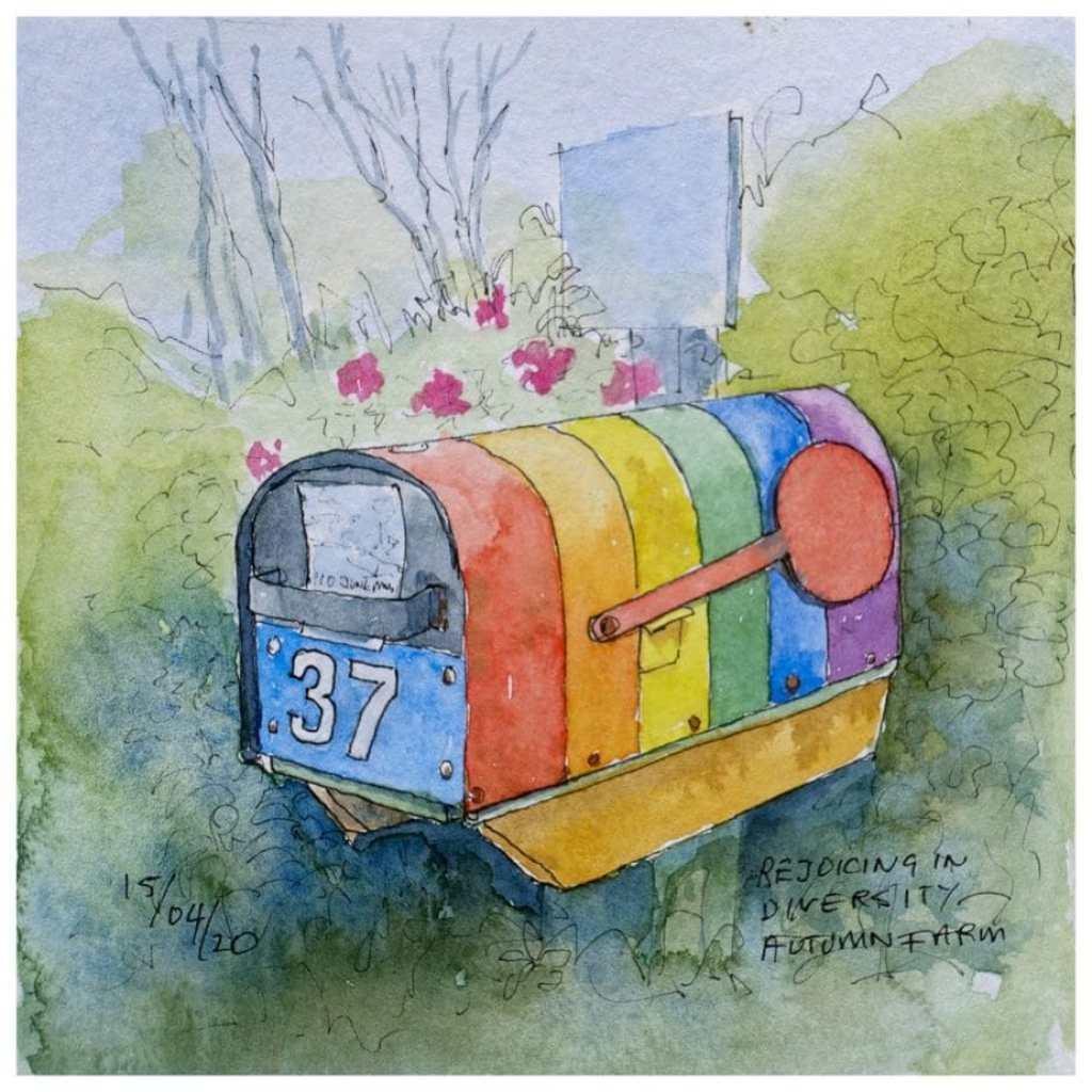 Autumn Farm Gay Hostel mailbox. Watercolour sketch