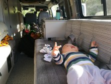 S hanging out in the van while we set up camp