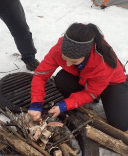 Making fire at Reid Lakes in MI