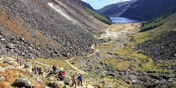 Rocky trail zizag down the Glenealo valley