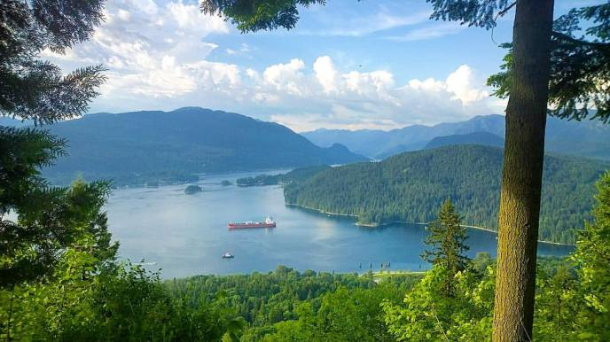 velodrome hiking trail, burnaby mountain, view of indian arm, hikes near vancouver