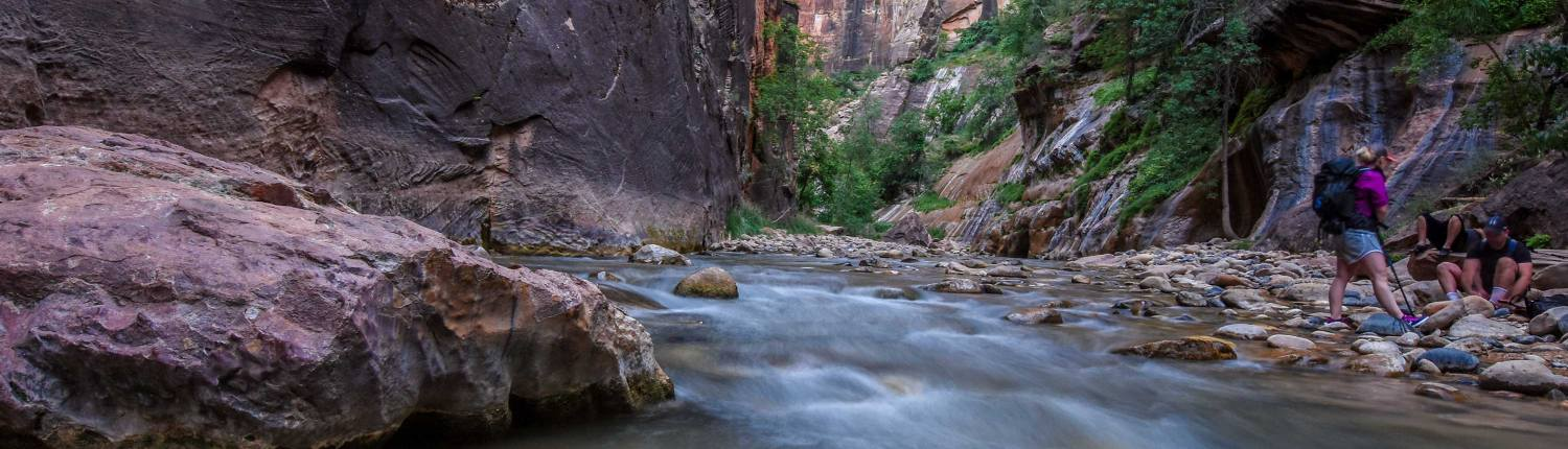 campers at the narrows in zion national park