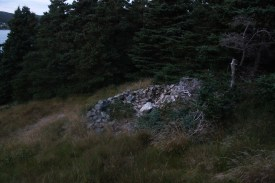 A rock pile at the access trail back to the trailhead at the end of Quay's Road.