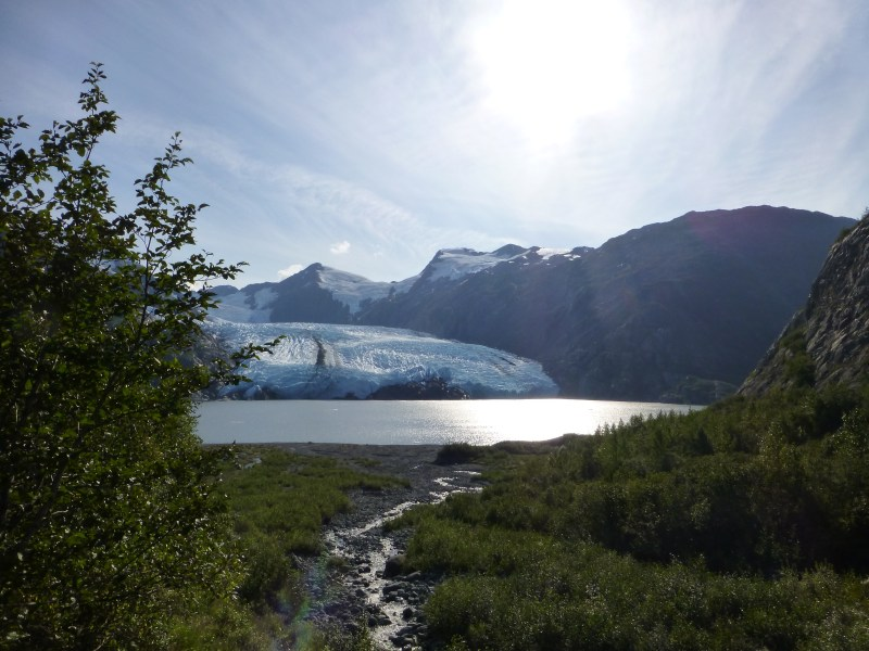 Portage Glacier stream and beach