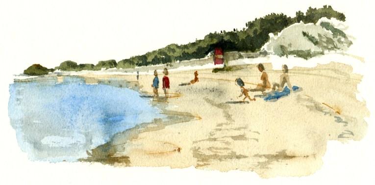 Balka beach, Bornholm, Denmark. Watercolor