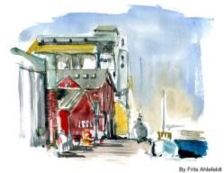 Nexo habour, Bornholm, Denmark. Watercolor