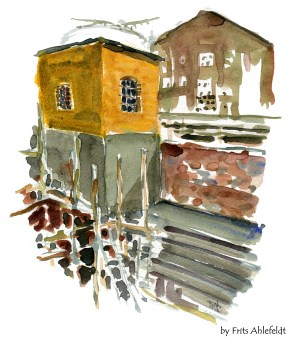 Nexo, harbour, Bornholm, Denmark. Watercolor