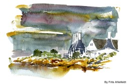 Smokeries, Svaneke, Bornholm, Denmark. Watercolor