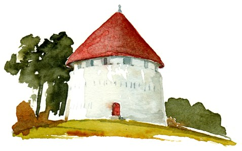 old fortress, Roenne, Bornholm, Denmark. Watercolor