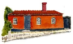 Small home, Sandvig. Bornholm. Watercolor