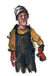 Old man with gloves drawing