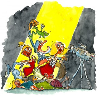 people doing crazy things in front of camera illustration