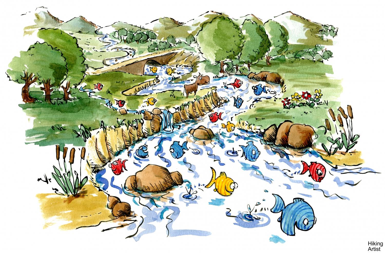 Fish Swimming In River Illustration