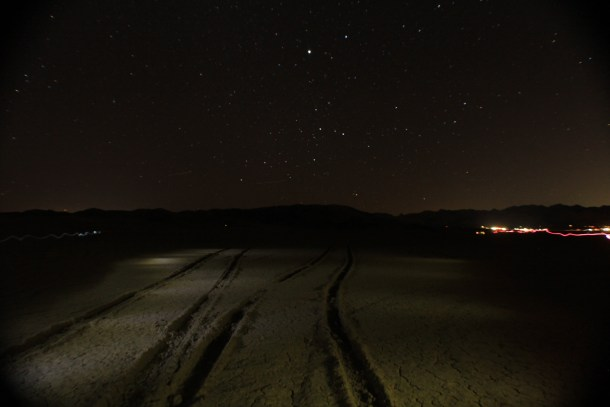 Stars over Joshua Tree in a dry lake bed of BLM free campground