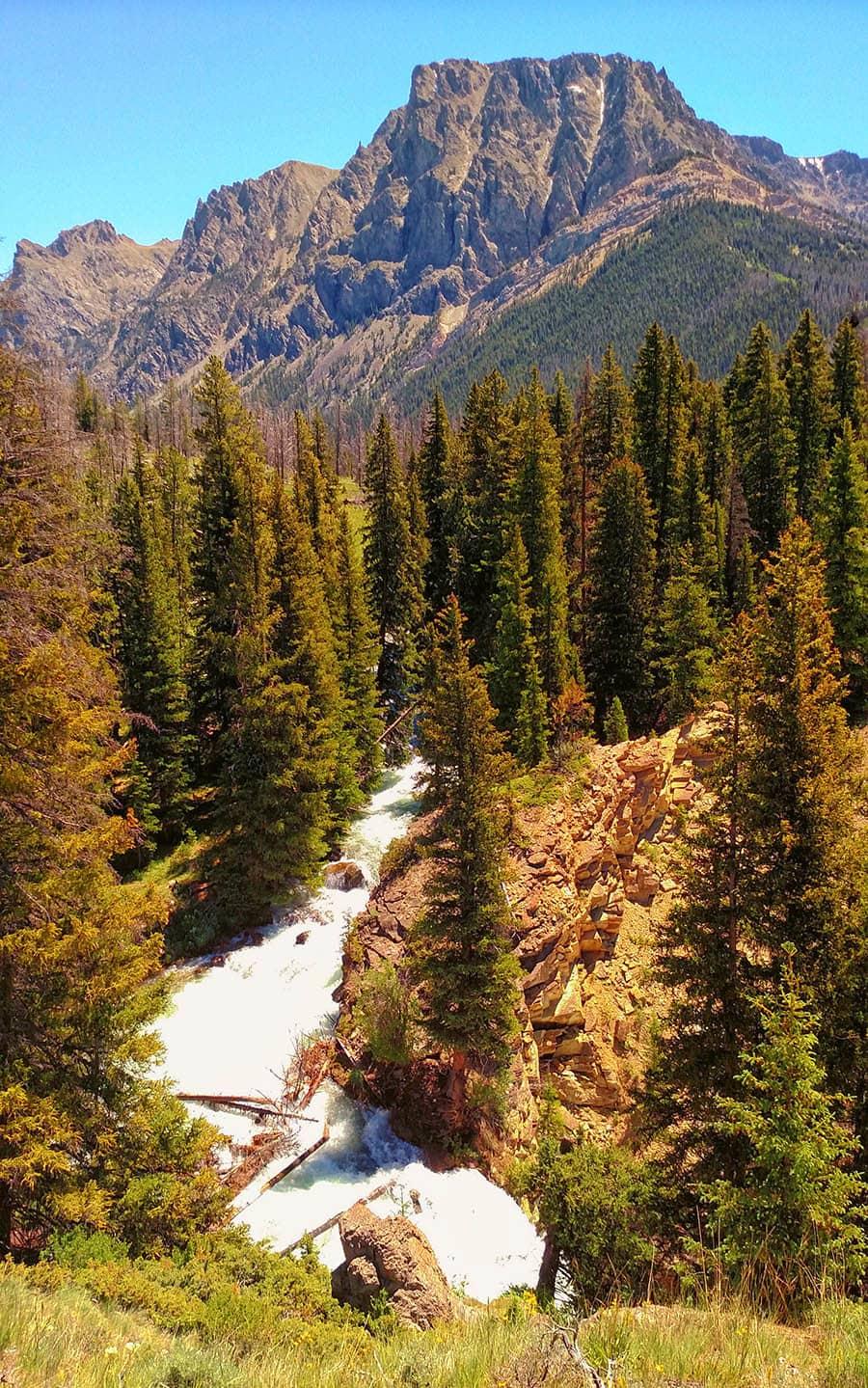 Flat Top Mountain over Clear Creek waterfall